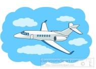 private jet in flight clipart